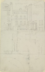 [Drawn plan and elevation of Wigley's Museum, and of Lord Berkley's house, Spring Gardens]